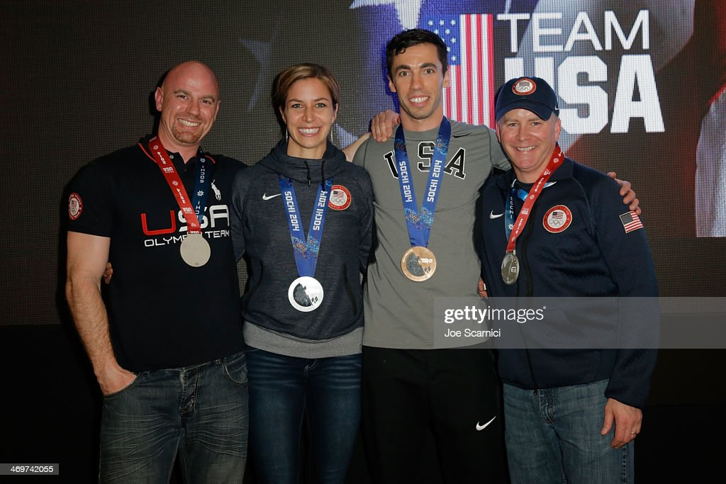 Coach Zachery Lund, U.S. Olympians <a gi-track='captionPersonalityLinkClicked' href=/galleries/search?phrase=Noelle+Pikus-Pace&family=editorial&specificpeople=184522 ng-click='$event.stopPropagation()'>Noelle Pikus-Pace</a> and Matthew Antoine and coach Tuffy Latour visit the USA House in the Olympic Village on February 16, 2014 in Sochi, Russia.