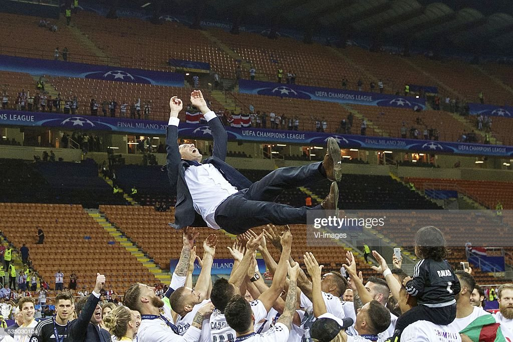 coach Zinedine Zidane of Real Madrid during the UEFA Champions League final match between Real Madrid and Atletico Madrid on May 28, 2016 at the Giuseppe Meazza San Siro stadium in Milan, Italy.