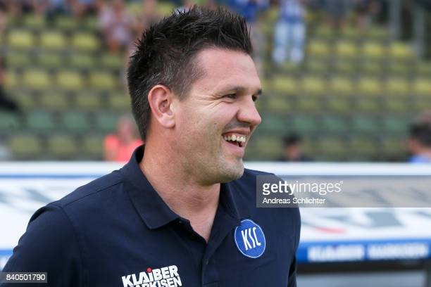 Coach Zlatan Bajramovic of Karlsruher SC during the 3 Liga match between Karlsruher SC and Hallescher FC at on August 26 2017 in Karlsruhe Germany