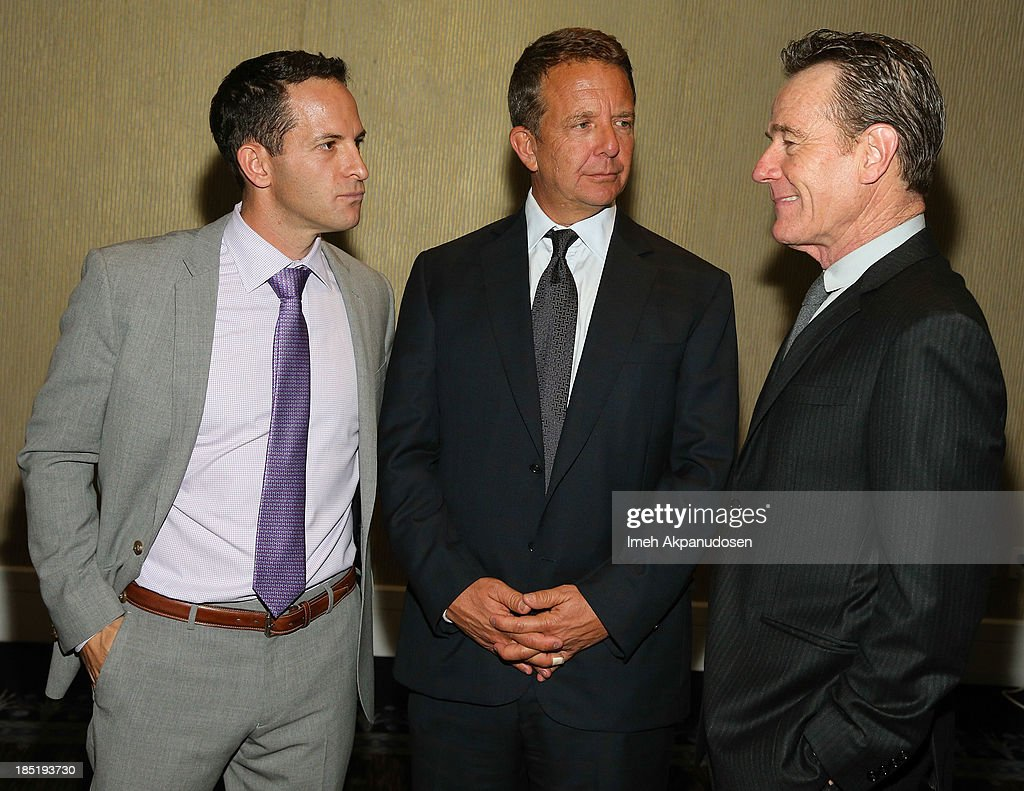 CoachArt President/Co-founder Zander Lurie, United Talent Agency CEO Jeremy Zimmer, and actor Bryan Cranston attend CoachArt's 9th Annual 'Gala Of Champions' at The Beverly Hilton Hotel on October 17, 2013 in Beverly Hills, California.
