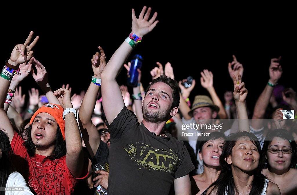Coachella music fans watch the band Chromeo perform during Day 3 of the Coachella Valley Music & Arts Festival 2011 held at the Empire Polo Club on April 17, 2011 in Indio, California.