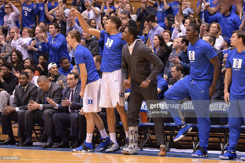 Coaches and players of the Duke Blue Devils react from their bench against the Virginia Cavaliers at Cameron Indoor Stadium on February 13, 2016 in Durham, North Carolina. Duke defeated Virginia 63-62.