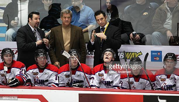 Coaches Bob Boughner Bobby Orr and Bob Jones of Team Orr call a timeout in the Home Hardware CHL/NHL Top Prospects game against Team Cherry on...