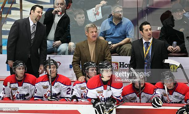 Coaches Bobby Orr Bob Jones and Bob Boughner of team Orr watch the on ice play during the Home Hardware CHL/NHL Top Prospects game against Team...