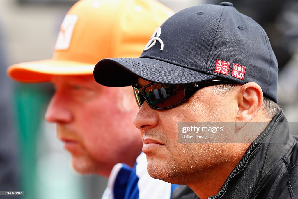 Coaches <a gi-track='captionPersonalityLinkClicked' href=/galleries/search?phrase=Boris+Becker&family=editorial&specificpeople=67204 ng-click='$event.stopPropagation()'>Boris Becker</a> and Marian Vajda of Novak Djokovic of Serbia look on in his match against Rafael Nadal of Spain in the semi finals during day seven of the Monte Carlo Rolex Masters tennis at the Monte-Carlo Sporting Club on April 18, 2015 in Monte-Carlo, Monaco.