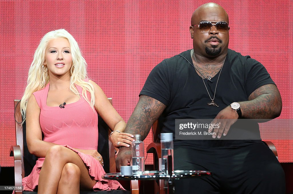 Coaches <a gi-track='captionPersonalityLinkClicked' href=/galleries/search?phrase=Christina+Aguilera&family=editorial&specificpeople=171272 ng-click='$event.stopPropagation()'>Christina Aguilera</a> and CeeLo Green speak onstage during 'The Voice' panel discussion at the NBC portion of the 2013 Summer Television Critics Association tour - Day 4 at the Beverly Hilton Hotel on July 27, 2013 in Beverly Hills, California.
