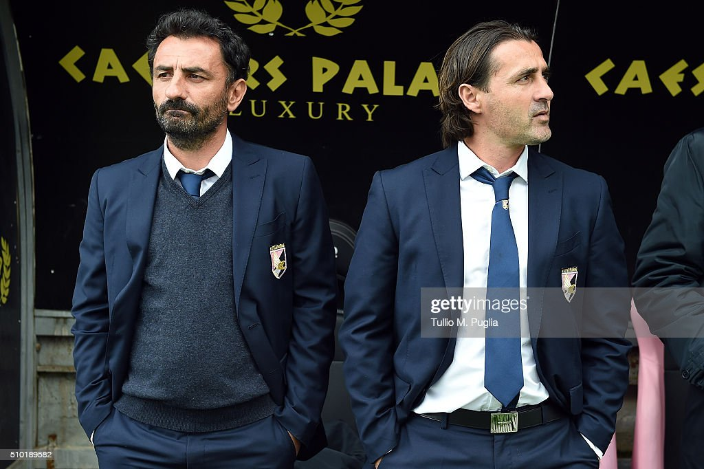 Coaches Giovanni Bosi (L) and Giovanni Tedesco of Palermo look on during the Serie A match between US Citta di Palermo and Torino FC at Stadio Renzo Barbera on February 14, 2016 in Palermo, Italy.