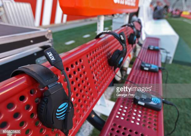 Coaches headsets sit in the bench before the start of an college football game against the Utah Utes and Stanford Cardinal on October 7 2017 in Salt...