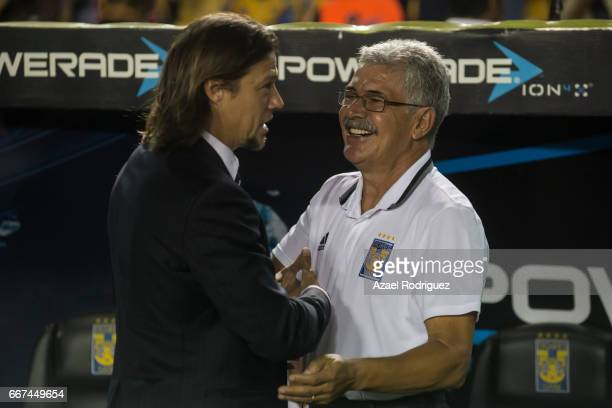 Coaches Matias Almeyda of Chivas and Ricardo 'Tuca' Ferretti of Tigres shake hands prior the match between Tigres and Chivas as part of the Clausura...