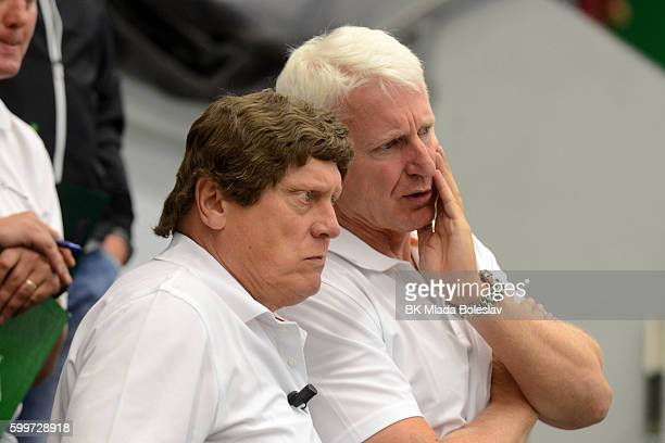 Coaches of BK Mlada Boleslav during the Champions Hockey League match between BK Mlada Boleslav and Yunost Minsk at SKOEnergo Arena on September 6...