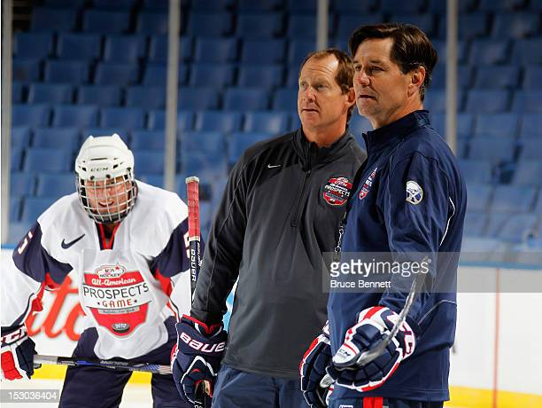Coaches Phil Housley and Rob McClanahan oversee the morning skate prior to the USA Hockey AllAmerican Prospects Game at the First Niagara Center on...