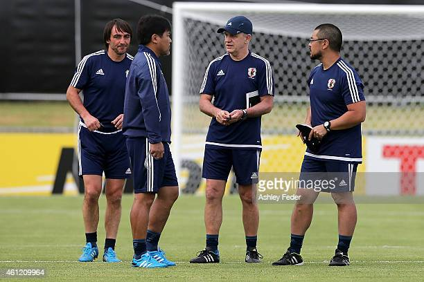 Coaching staff talk with head coach Javier Aguirre during a Japan 2015 Asian Cup training session on January 9 2015 in Newcastle Australia