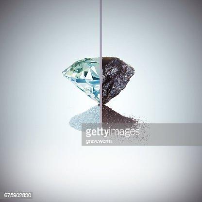 Coal and diamond metamorphosis : Stock Photo