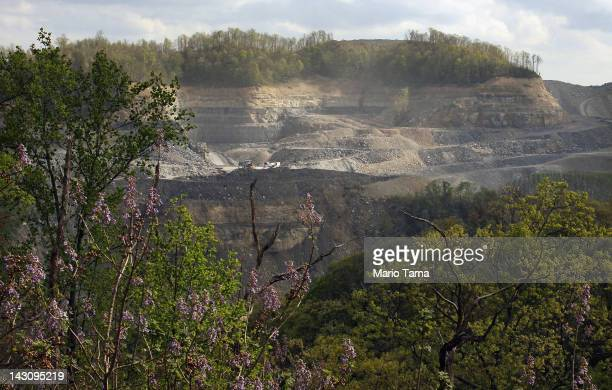 Coal Corporation surface mining operations are seen in the Appalachian Mountains on April 16 2012 in Wise County Virginia Critics refer to this type...