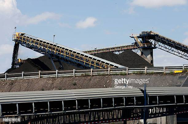 Coal falls off a conveyer belts as it's off loaded from trucks from local coal mines at the Savage Energy Terminal on August 26 2016 in Price Utah...