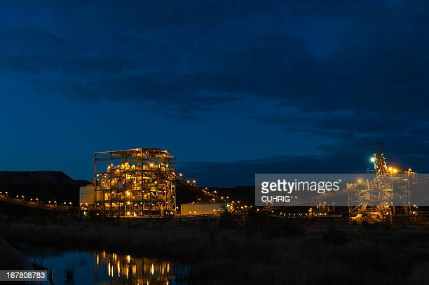Coal Handling Wash Plant on Mine Site at night