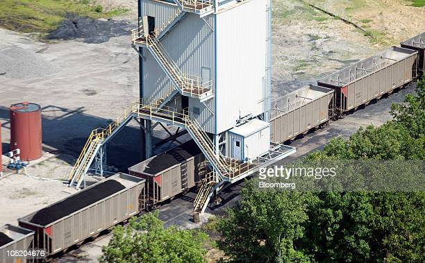 Coal is loaded onto rail cars on the surface of Foresight Energy LLC's Pond Creek longwall coal mine in Johnson City Illinois US in this aerial photo...