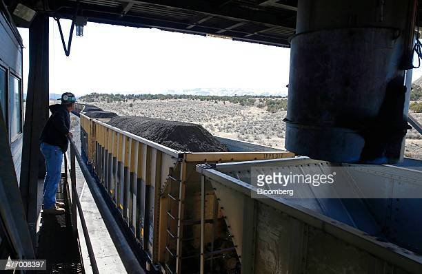 Coal is loaded onto railcars at the Wildcat Coal LoadOut Terminal owned by Intermountain Power Agency outside Price Utah US on Wednesday March 5 2014...