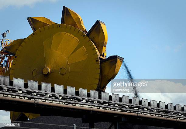 Coal is stockpiled in preparation for loading onto ships for export at the Newcastle Coal Terminal in Newcastle north of Sydney Australia on...