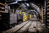 Coal mine underground corridor with freight railroad cars, Makoszowy coal mine in Zabrze, Poland