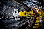 Coal mine underground corridor with support system and drilling machine, Makoszowy coal mine in Zabrze, Poland