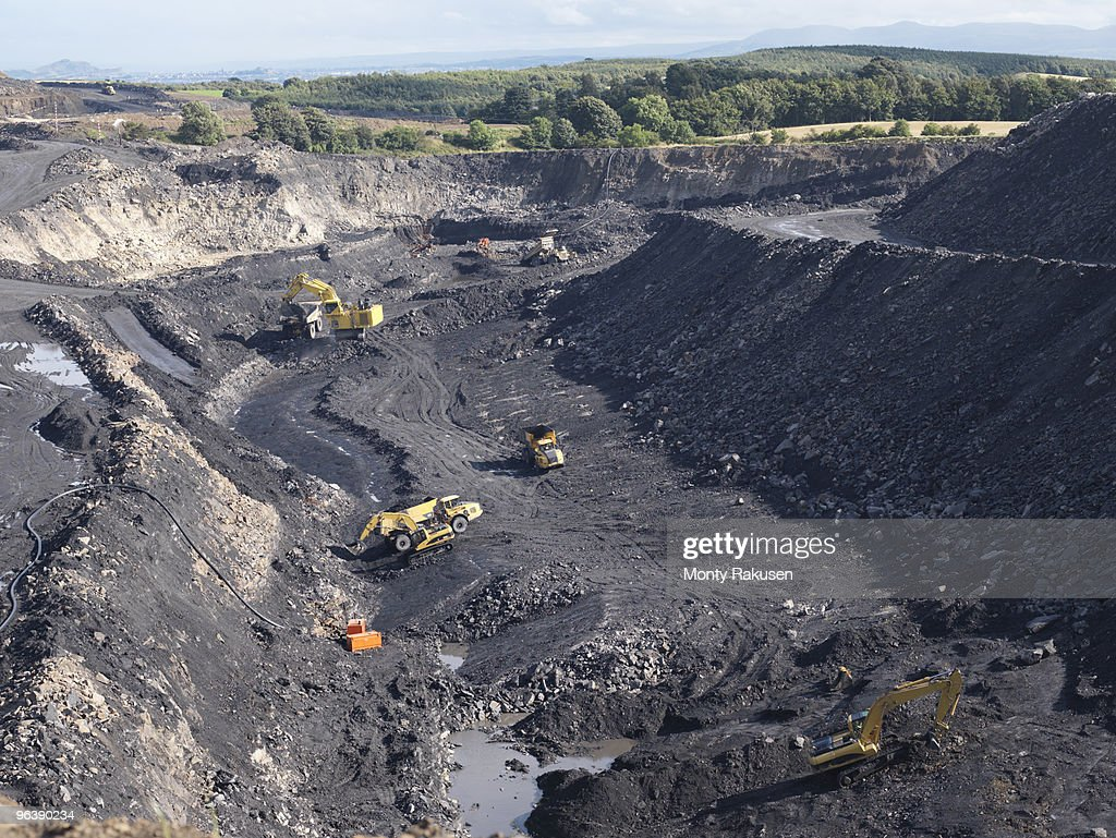 Coal Mine With Diggers From Above