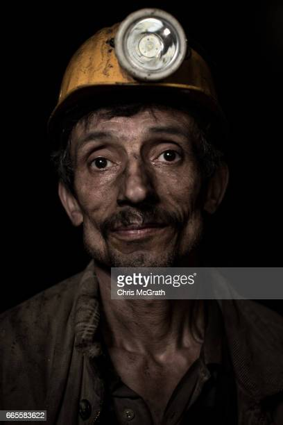 Coal miner Cemil poses for a portrait on his night shift break at a small mine on April 5 2017 in Zonguldak Turkey More than 300 kilometers of coal...