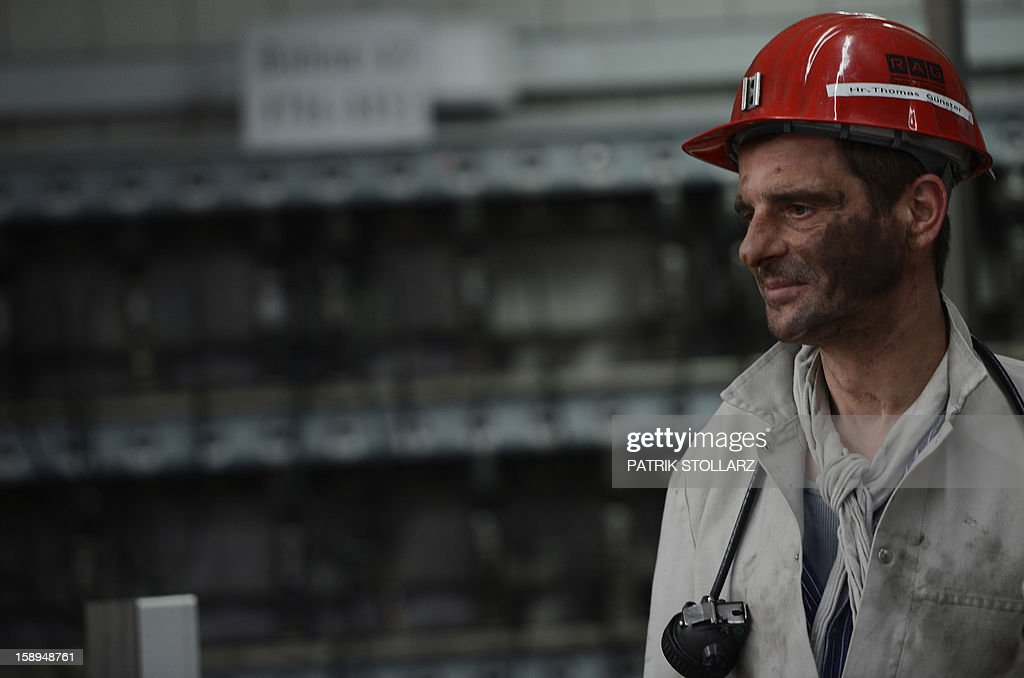 A coal miner leaves after his shift the mine Prosper Haniel Schacht 10 on January 4, 2013 in Bottrop, western Germany.