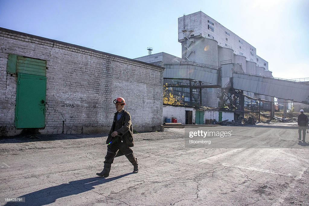 A coal miner leaves the Komsomolets coal mine, operated by the Donbass Fuel & Energy Co., or DTEK, after his shift in Donetsk, Ukraine, on Thursday, Oct. 18, 2012. DTEK, Ukraine's largest private coal and energy producer, signed a supply contract with OAO OGK-2, the Russian wholesale power generator controlled by OAO Gazprom. Photographer: Vincent Mundy/Bloomberg via Getty Images