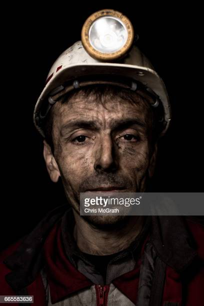 Coal miner Orhan poses for a portrait on his night shift break at a small mine on April 5 2017 in Zonguldak Turkey More than 300 kilometers of coal...