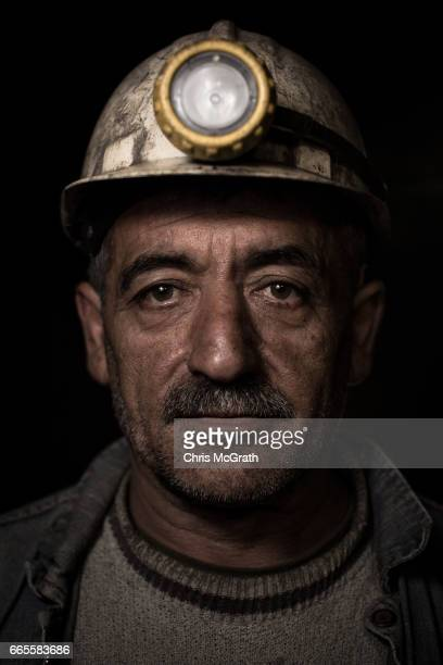 Coal miner Rasim poses for a portrait on his night shift break at a small mine on April 5 2017 in Zonguldak Turkey More than 300 kilometers of coal...