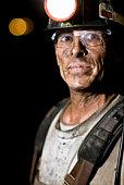 Coal miner smiling, close-up