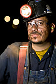 Coal miner smiling, close-up