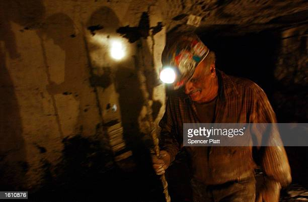 A coal miner works August 26 2001 at the Mathies coal mine in western PA The Mathies mine which employs 164 miners is one of the few underground...