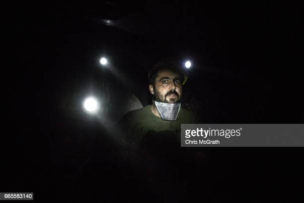 Coal miners are seen working at the coal face of a tunnel at a large government run coal mine on April 4 2017 in Zonguldak Turkey More than 300...