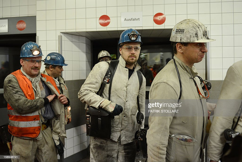 Coal miners leave after the shift the mine Prosper Haniel Schacht 10, on January 4, 2013 in Bottrop, western Germany.