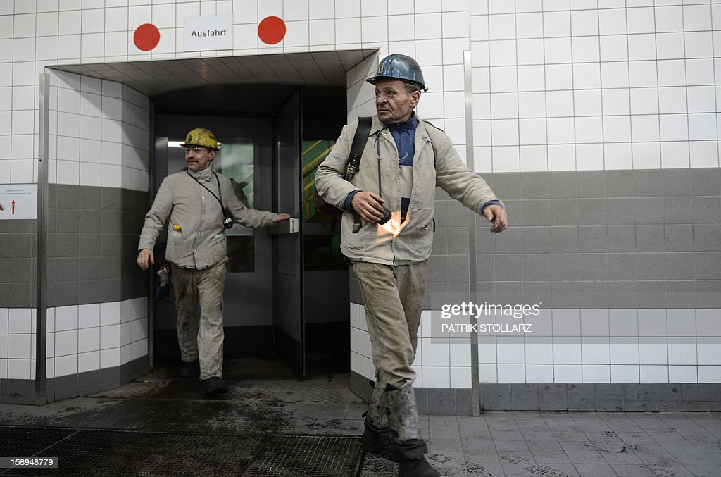 Coal miners leave after the shift the mine Prosper Haniel Schacht 10 on January 4, 2013 in Bottrop, western Germany.