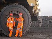 Coal Miners With Digger