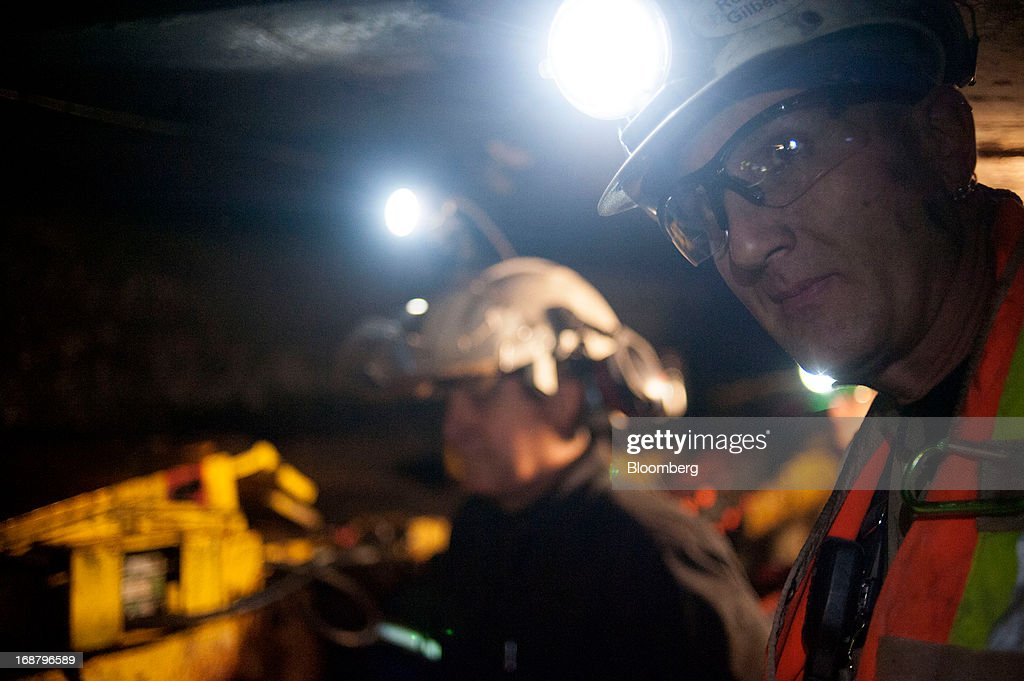 Coal miners work at the Consol Energy Bailey Mine in Wind Ridge, Pennsylvania, U.S., on Tuesday, May 14, 2013. Coal's prospects are improving after its share of U.S. power generation fell last year to 34 percent, the lowest since at least 1973, Energy Department data show. Hotter temperatures this summer that prompt American households to use more air conditioning will boost demand for coal and the railroads that ship it. Photographer: Ty Wright/Bloomberg via Getty Images