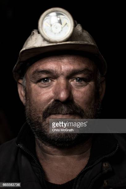 Coal mining engineer Ali poses for a portrait on his night shift break at a small mine on April 5 2017 in Zonguldak Turkey More than 300 kilometers...