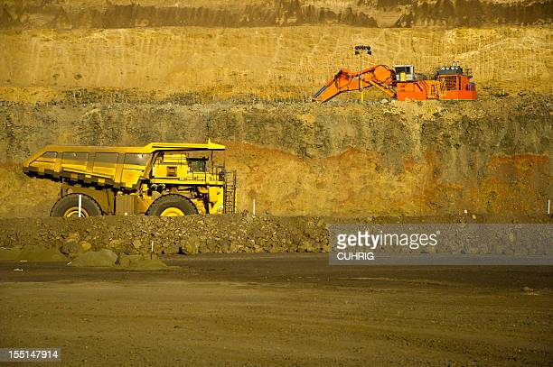 Coal Mining Truck and digger on Haul Road