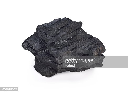 Coal on Isolated White Background : Stock Photo