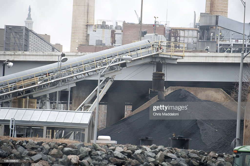 A coal pile in front of the Capitol Power Plant. The Sierra Club objects to the continued use of coal as fuel for the plant.