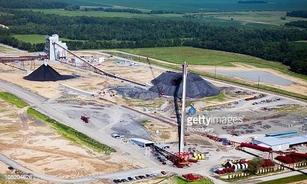 Coal piles sit on the surface of Foresight Energy LLC's Pond Creek longwall coal mine in Johnson City Illinois US in this aerial photo taken on...