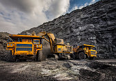 Coal production at one of the open fields in the south of Siberia. Dumpers 'BelAZ'. September 2015.