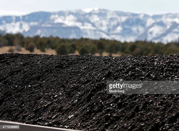 Coal sits in a railcar at the Wildcat Coal LoadOut Terminal owned by Intermountain Power Agency outside Price Utah US on Wednesday March 5 2014 The...