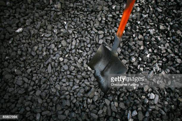 Coal waits to be delivered from the yard of traditional coalman Ernie Lockett to homes for winter heating in Northwich on November 24 2008 in...