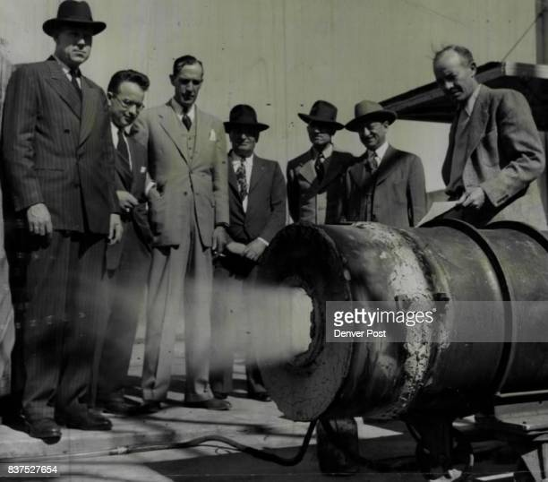 Coalconscious visitors from Florence Colo Inspect a new type of industrial coal burner now on test at the U S bureau of mines coal experiment station...