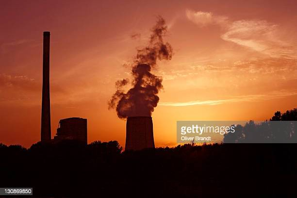 Coal-fired power plant in backlight, Ruhr Area, North-Rhine Westphalia, Germany