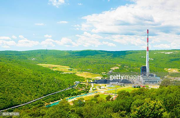 Coal-fired power station in the middle of green landscape (Croatia)